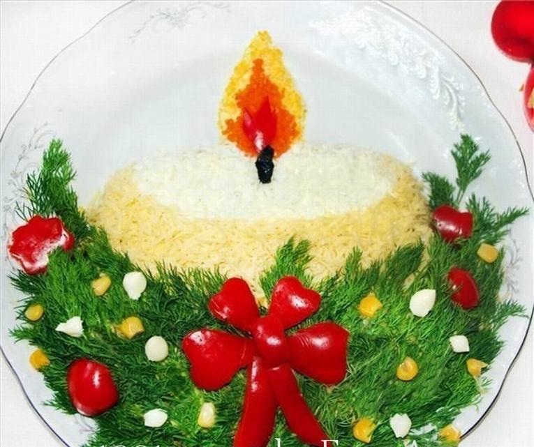 Украшение салатов на новый год фото