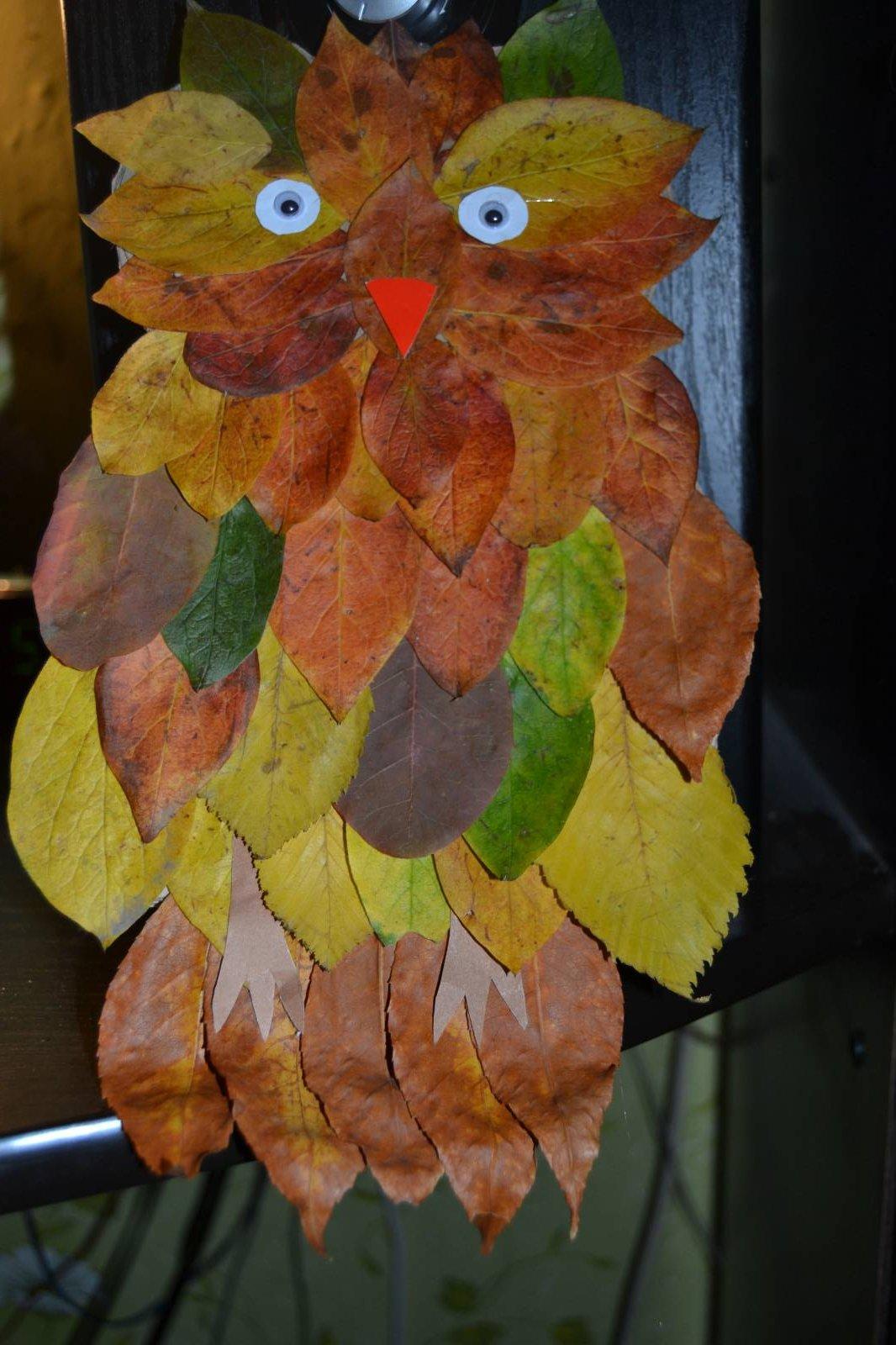 Сделать сову из листьев своими руками 613