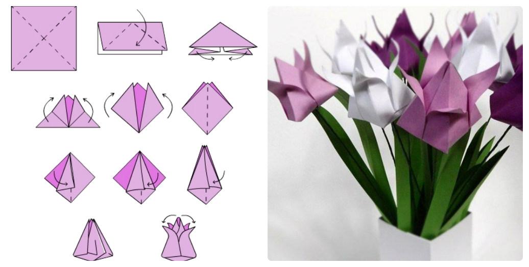 Цветок оригами из бумаги